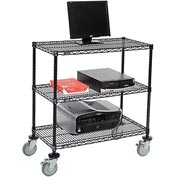"Nexel™ 3-Shelf Mobile Wire Computer LAN Workstation, 36""W x 18""D x 40""H, Black"