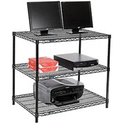 "Nexel™ 3-Shelf Wire Computer LAN Workstation, 36""W x 24""D x 34""H, Black"