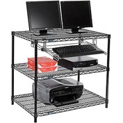 "Nexel™ 3-Shelf Wire Computer LAN Workstation with Keyboard Tray, 36""W x 24""D x 34""H, Black"