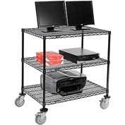 "Nexel™ 3-Shelf Mobile Wire Computer LAN Workstation, 36""W x 24""D x 40""H, Black"