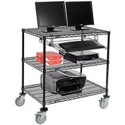 "Nexel™ 3-Shelf Mobile Wire Computer LAN Workstation w/Keyboard Tray, 36""W x 24""D x 40""H, Black"