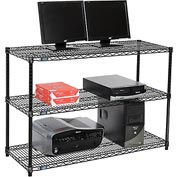 "Wire shelf Computer LANstation workstation 34""Hx18""Wx48""L, Black, 3-Shelf"