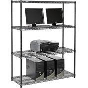 "Nexel™ 4-Shelf Wire Computer LAN Workstation, 48""W x 18""D x 63""H, Black"