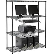 "Nexel™ 4-Shelf Wire Computer LAN Workstation with Keyboard Tray, 48""W x 18""D x 63""H, Black"