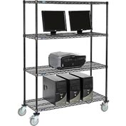 "Nexel™ 4-Shelf Mobile Wire Computer LAN Workstation, 48""W x 18""D x 69""H, Black"