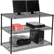 "Nexel™ 3-Shelf Wire Computer LAN Workstation, 48""W x 24""D x 34""H, Black"