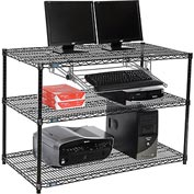 "Nexel™ 3-Shelf Wire Computer LAN Workstation with Keyboard Tray, 48""W x 24""D x 34""H, Black"