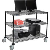 "Nexel™ 3-Shelf Mobile Wire Computer LAN Workstation, 48""W x 24""D x 40""H, Black"