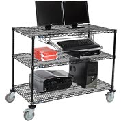 "Wire shelf Mobile Computer LANstation workstation, Keyboard Tray, 40""Hx24""Wx48""L Black, 3-Shelf"