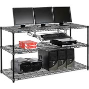 "Wire shelf Computer LANstation workstation, Keyboard Tray 34""Hx24""Wx60""L, Black, 3-Shelf"