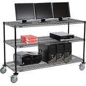 "Wire shelf Mobile Computer LANstation workstation, 40""Hx24""Wx60""L, Black, 3-Shelf"