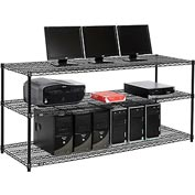 "Nexel™ 3-Shelf Wire Computer LAN Workstation, 72""W x 24""D x 34""H, Black"