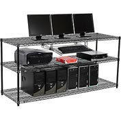 "Wire shelf Computer LANstation workstation, Keyboard Tray 34""Hx24""Wx72""L, Black, 3-Shelf"