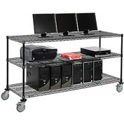 "Wire shelf Mobile Computer LANstation workstation, 40""Hx24""Wx72""L, Black, 3-Shelf"