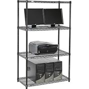 "Wire shelf Computer LANstation workstation 63""Hx18""Wx36""L, Black, 4-Shelf"