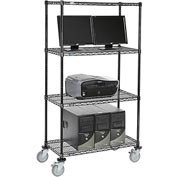 "Nexel™ 4-Shelf Mobile Wire Computer LAN Workstation, 36""W x 18""D x 69""H, Black"