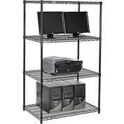 "Nexel™ 4-Shelf Wire Computer LAN Workstation, 36""W x 24""D x 63""H, Black"