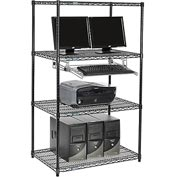 "Nexel™ 4-Shelf Wire Computer LAN Workstation with Keyboard Tray, 36""W x 24""D x 63""H, Black"