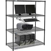 "Wire shelf Computer LANstation workstation, Keyboard Tray 63""Hx24""Wx48""L, Black, 4-Shelf"