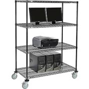 "Wire shelf Mobile Computer LANstation workstation, 69""Hx24""Wx48""L, Black, 4-Shelf"