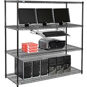 "Wire shelf Computer LANstation workstation, Keyboard Tray 63""Hx24""Wx60""L, Black, 4-Shelf"