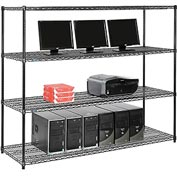 "Wire shelf Computer LANstation workstation 63""Hx24""Wx72""L, Black, 4-Shelf"