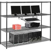 "Wire shelf Computer LANstation workstation, Keyboard Tray 63""Hx24""Wx72""L, Black, 4-Shelf"