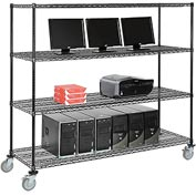 "Wire shelf Mobile Computer LANstation workstation, 69""Hx24""Wx72""L, Black, 4-Shelf"