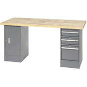 "96"" W x 30"" D Pedestal Workbench W/ 3 Drawers & Cabinet, Birch Butcher Block Square Edge- Gray"