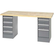 "96"" W x 30"" D Pedestal Workbench W/ 7 Drawers, Birch Butcher Block Square Edge- Gray"