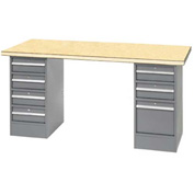 "96"" W x 30"" D Pedestal Workbench W/ 7 Drawers, Shop Top Square Edge- Gray"