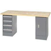 "96"" W x 30"" D Pedestal Workbench W/ 4 Drawers & Cabinet, Maple Butcher Block Square Edge - Gray"
