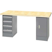 "96"" W x 30"" D Pedestal Workbench W/ 4 Drawers & Cabinet, Shop Top Square Edge- Gray"
