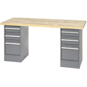 "96"" W x 30"" D Pedestal Workbench W/ 6 Drawers, Maple Butcher Block Square Edge - Gray"