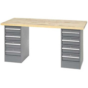 "96"" W x 30"" D Pedestal Workbench W/ 8 Drawers, Maple Butcher Block Square Edge - Gray"