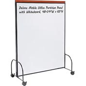 "Deluxe Mobile Office Partition Panel with Double-sided Whiteboard, 48-1/4""W x 65""H"