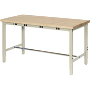 "96""W x 30""D Production Workbench with Power Apron - Birch Butcher Block Square Edge - Tan"