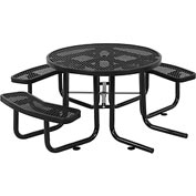 "46"" Wheelchair Accessible Round Expanded Metal Picnic Table, Black"