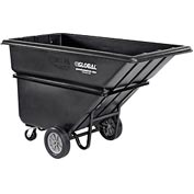 Deluxe Black Heavy Duty Plastic Tilt Truck 1 Cubic Yard and 1250 Lb. Capacity
