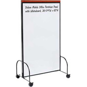 "Deluxe Mobile Office Partition Panel with Whiteboard, 36-1/4""W x 65""H"