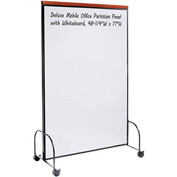 "Deluxe Mobile Office Partition Panel with Whiteboard, 48-1/4""W x 77""H"