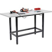 "72""W x 30""D Standing Height Workbench, Plastic Laminate Square Edge - Black"