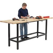 "96""W x 30""D Standing Height Workbench, Maple Butcher Block Square Edge - Black"