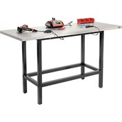 "72""W x 30""D Standing Height Workbench, Stainless Steel Square Edge - Black"