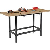 "72""W x 30""D Standing Height Workbench, Shop Top Square Edge - Black"