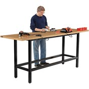 "96""W x 30""D Standing Height Workbench, Shop Top Square Edge - Black"
