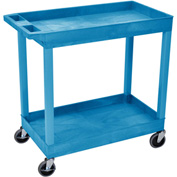 Luxor® EC11 E-Series Blue 2-Shelf Tub Cart 35-1/4 x 18 400 Lb. Cap.