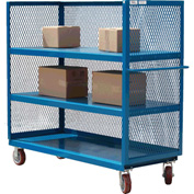 Modern Equipment MECO 3S3060-3R-B 3-Sided Steel Mesh Service Truck 60x30 3 Shelves Blue