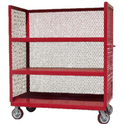 Modern Equipment MECO 3S2460-3R-R 3-Sided Steel Mesh Service Truck 60x24 3 Shelves Red