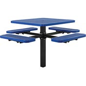 "46"" Square In-Ground Mount Picnic Table, Expanded Metal, Blue"